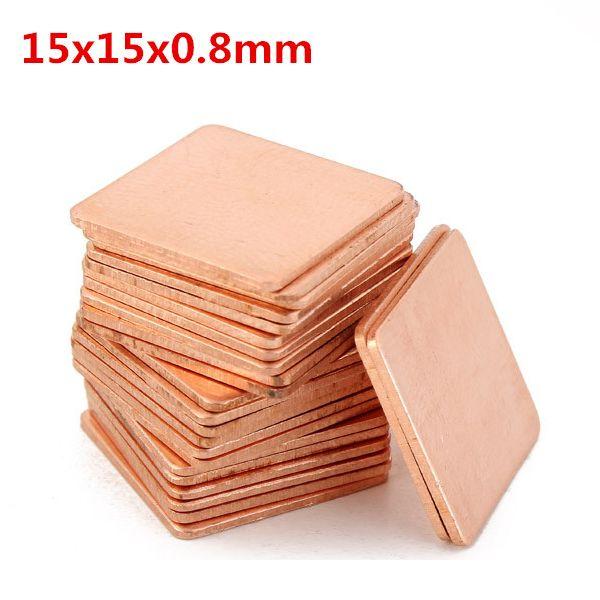 100pcs 15x15x0 8mm Cobre Puro Placa De Refrigeracion De Cobre Conductividad Termica With Images Pure Copper Plates Copper
