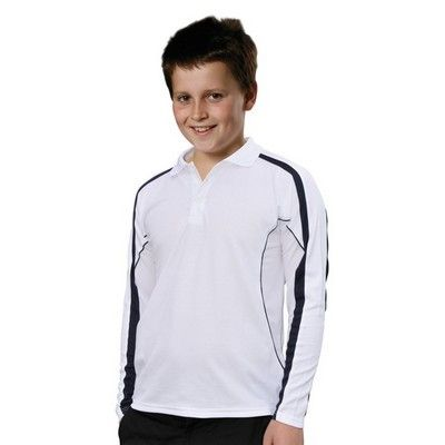 TrueDry Kids Long Sleeve Polo Min 25 - 160gsm TrueDry mesh knitted, 60%Cotton, 40%CoolDry Polyester. http://www.promosxchange.com.au/truedry-kids-long-sleeve-polo/p-9564.html