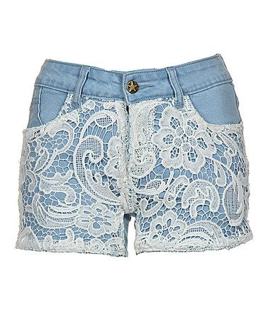 Look what I found on #zulily! Light Blue & White Lace Denim Shorts by Fashionomics #zulilyfinds