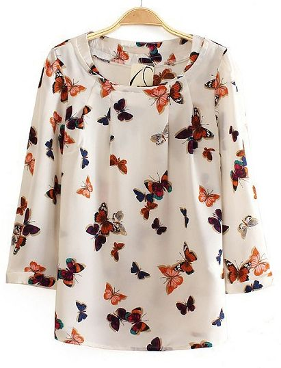White Long Sleeve Butterfly Print Chiffon Blouse US$30.00