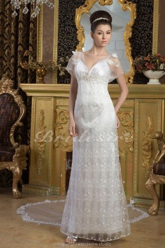 Sheath/Column Spaghetti Straps Floor-length Watteau Train Short Sleeve Lace Satin Wedding Dress - $192.99