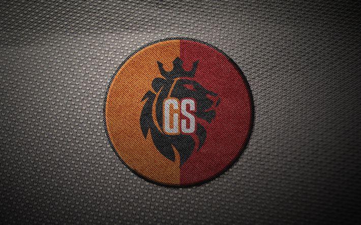 Download wallpapers 4k, Galatasaray FC, embroidered logo, creative, Super Lig, fan art, lion, Turkish football club, emblem, football, soccer, Galatasaray SK