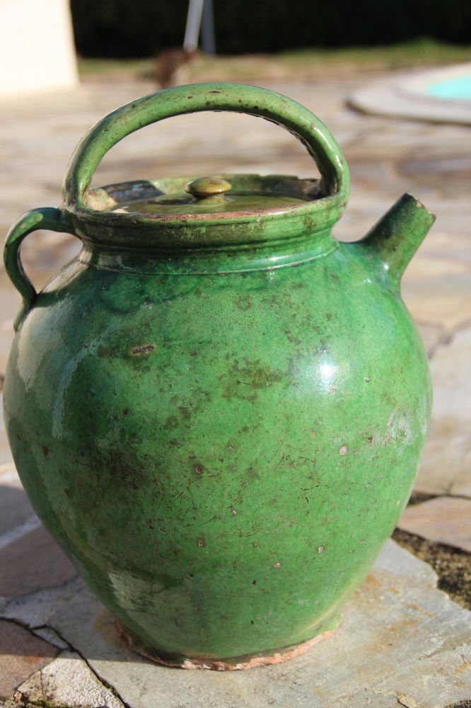 French Antique Pottery Glazed Ceramic Confit Pot Big