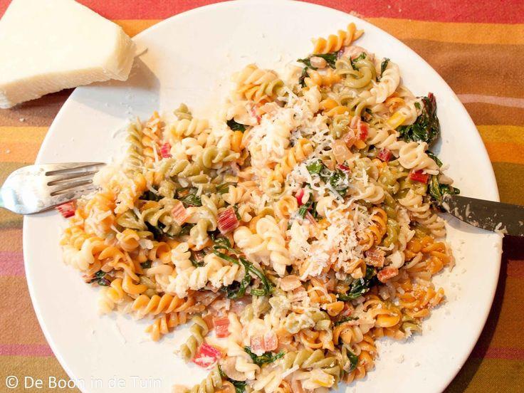 recept snijbiet pasta Deze en nog veel meer recepten vind je op tuinblog De Boon in de Tuin | http://deboon.blogspot.nl