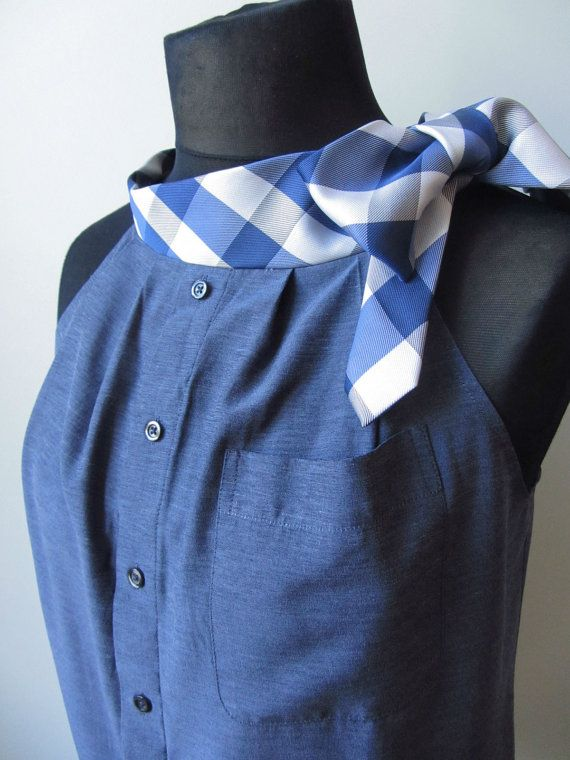 Upcycled Clothing / Blue Boyfriend Halter Top with Necktie Collar / Women Tops Tank / made from mens shirt and neckties / Prepster