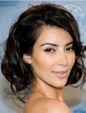 Vogue Kim Kardashian Inspired Curly Mid Length Bob Synthetic Wig