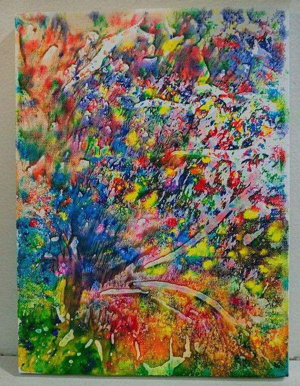 Melted crayon art, using hot blower. Gesmolten was krijtjes, m.h.v. hete föhn.