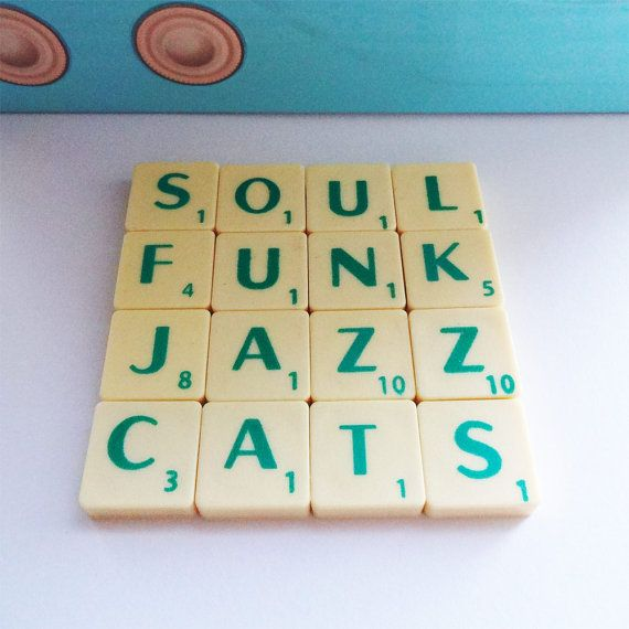 Soul Funk Coaster Jazz Cats Upcycled Scrabble Tiles by CheekyGeeky, £9.00