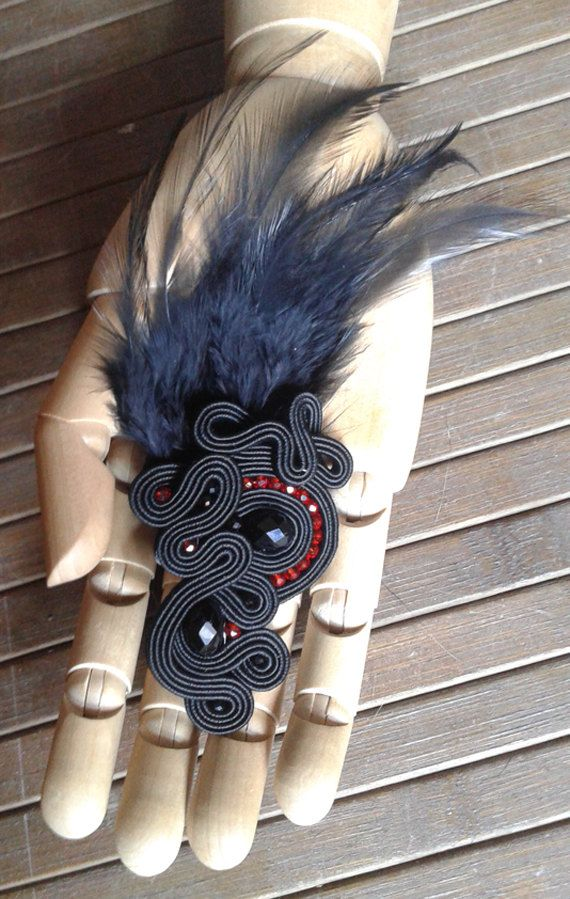 Items similar to Soutache black headdress with feathers on Etsy