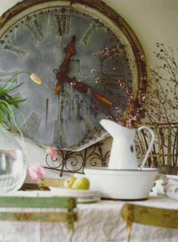 """Beautiful """"time"""" worn Wall Clock."""