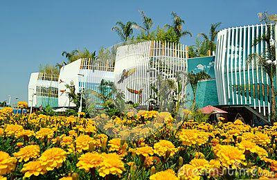 Nadia Mikushova (Nadiamik) - A panoramic view to calendula or marygold flowers field and Colombia EXPO Milano 2015 pavilion - Dreamstime