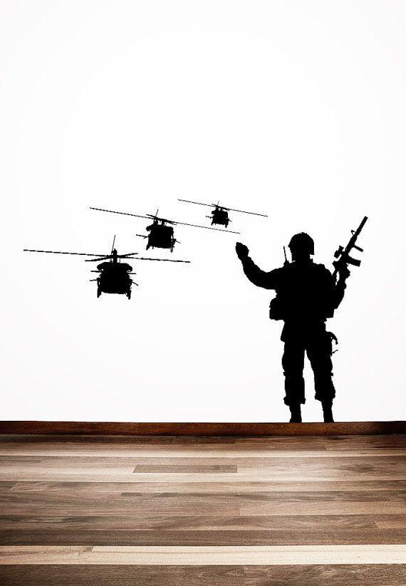 Truppa militare, soldato, sventolando in Choppers - adesivo, adesivo, vinile, parete, casa, arredamento ufficio