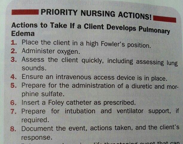 Pulmonary edema nursing actions