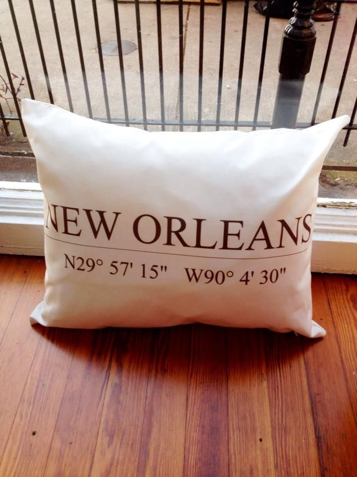 Fleurty Girl - Everything New Orleans - New Orleans Coordinates Pillow, $38. #toobuku // www.thebukuproject.com
