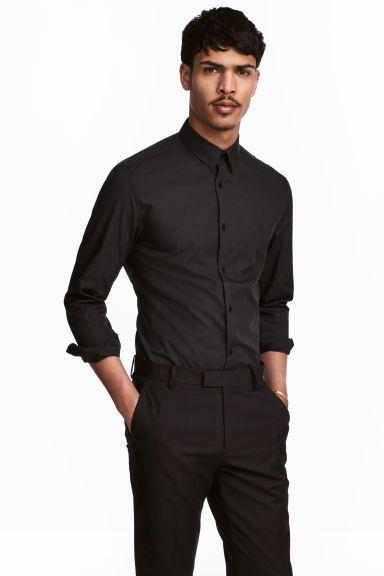 Košile Easy iron Slim fit - Černá - MUŽI   H&M CZ