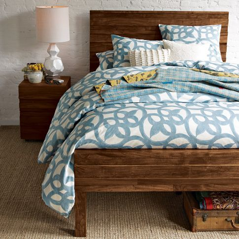 bedding... and I love this bed!: Guest Room, Bed Frames,  Comforters, Beds Spreads, Duvet Covers,  Puff, Beds Frames, Bedrooms, West Elm