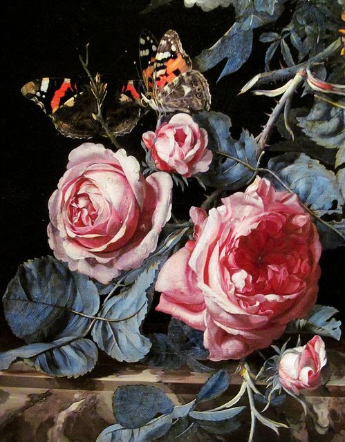 Detail of a painting by Willem van Aelst (Flowers in a Silver Vase, 1663)