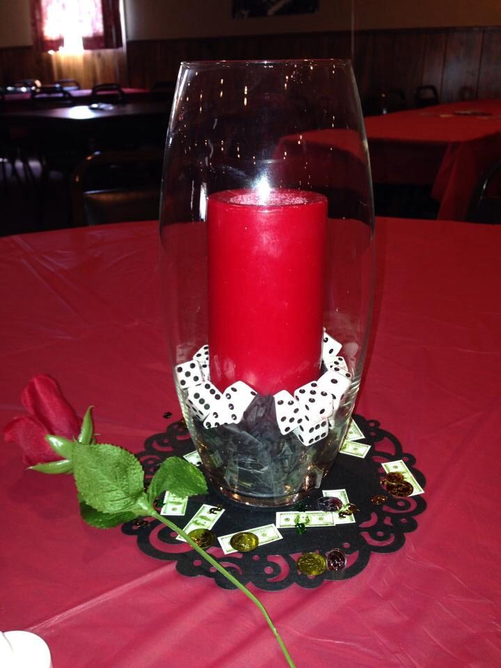 Our centerpieces.. Mafia/gangster theme birthday  party