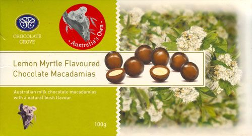 Lemon Myrtle Chocolate Coated Macadamia Nuts 100g $7.50 SPECIAL 3 FOR $21.00