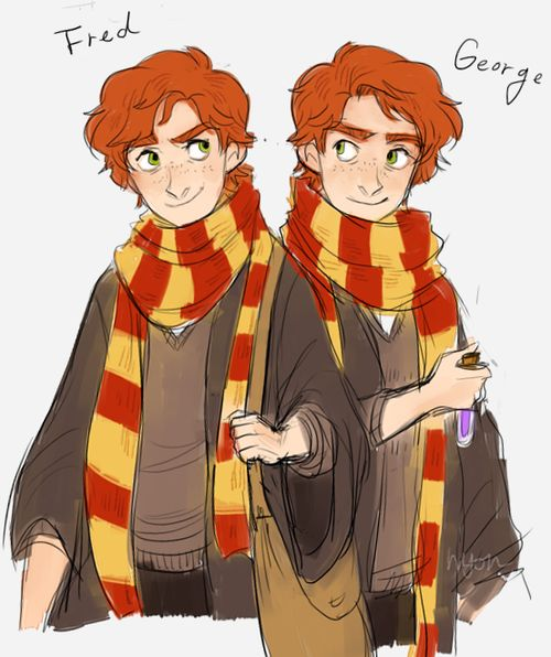 Fred and George (the Weasley twins) by nyoncat #harrypotter #fanart