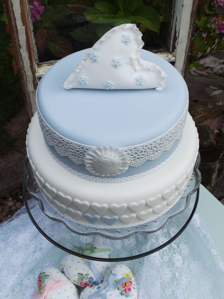 Delicate vintage wedding cake, wisteria blue, lace, cameo, hearts and heart shaped pillow