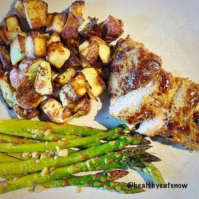 Rosemary and Balsamic Pork Loin with Lemony Herb Roasted Potatoesand asparagus