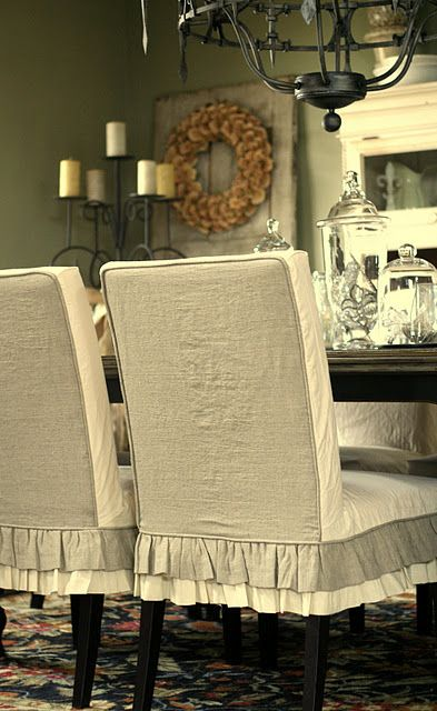 I'm not usually a fabric covered dining room chair kind of person, but I like these slipcovers.