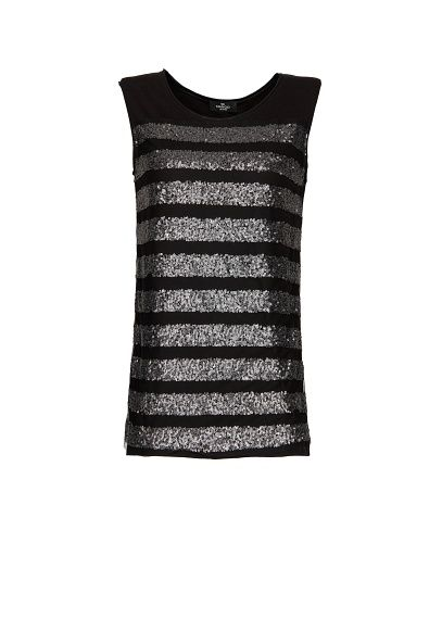 MANGO - Sequined striped t-shirt