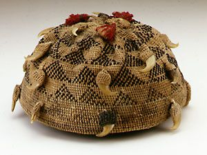 Africa | Hat (ngunda, mpu) from the Kongo people of DR Congo | Plant fiber, cotton, leapard claws, dyes | ca. 1890