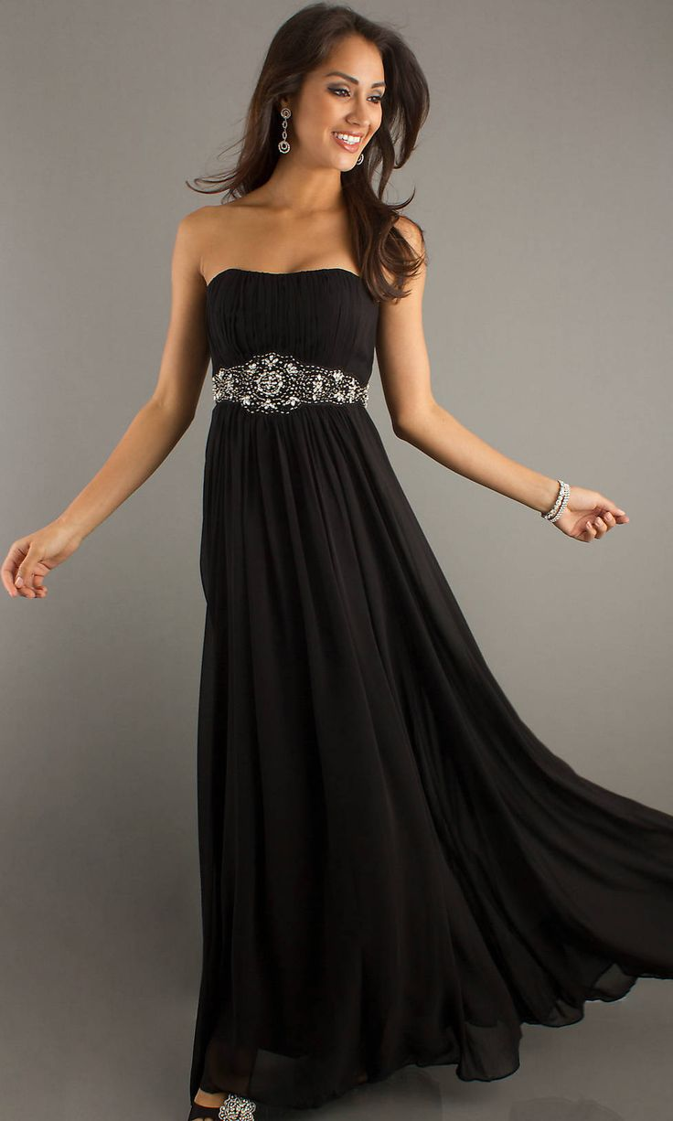 Beaded Waist Long Strapless Empire Ruched Black Prom Dress