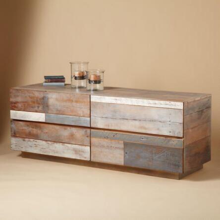 This unique barnwood lowboy four-drawer dresser makes a distinctive statement.