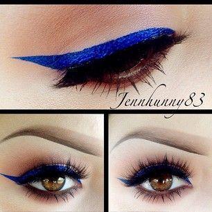 Blue highlight eye for green hazel eye makeup