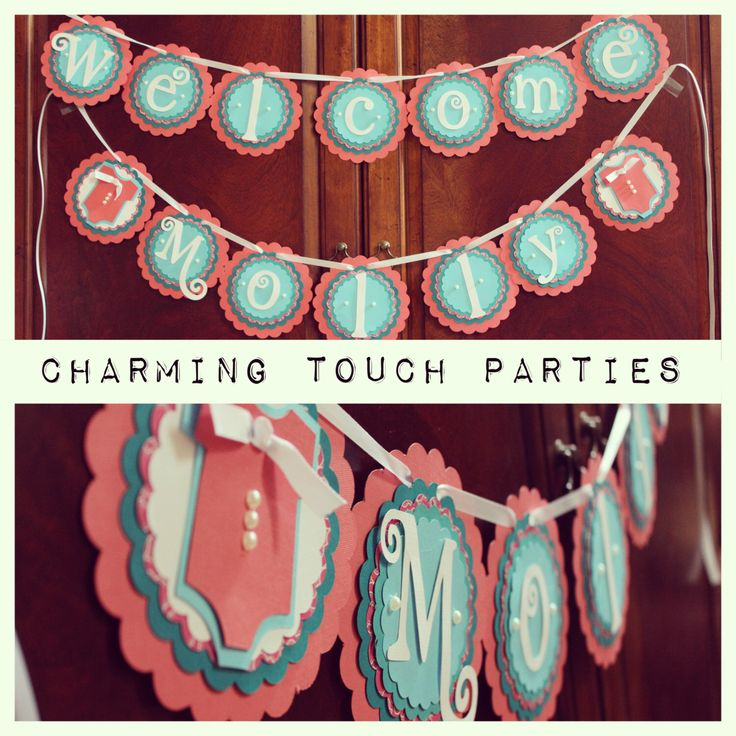 "Custom coral and aqua ""Welcome Name"" deluxe BABY SHOWER banner (You Choose Colors) by CharmingTouchParties on Etsy https://www.etsy.com/listing/190175302/custom-coral-and-aqua-welcome-name"
