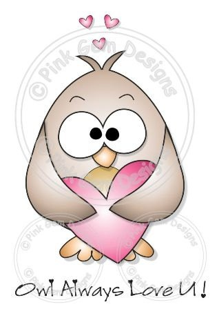 Digital Digi Love Heart Owl Stamp by PinkGemDesigns on Etsy, $2.70