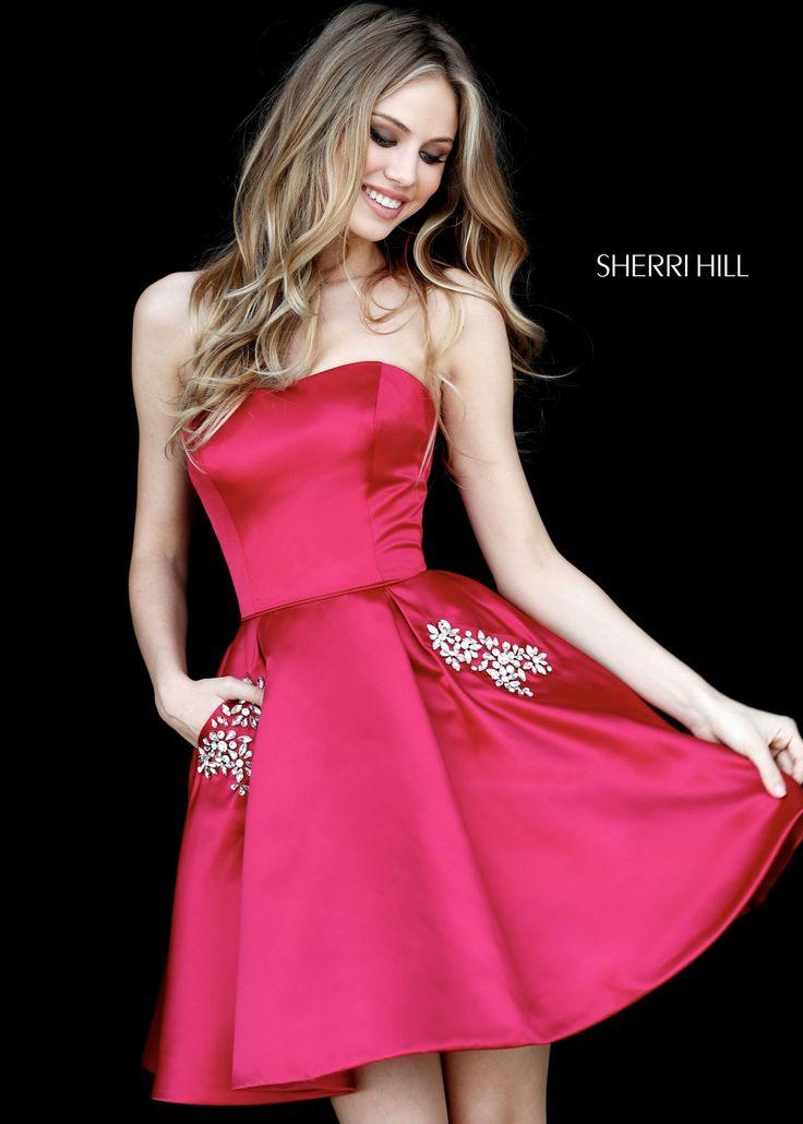 Sherri Hill 51390 Strapless Satin Dress with Jeweled Pockets