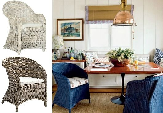 Rattan Club Chairs for Nautical Style Living... http://www.completely-coastal.com/2017/04/indoor-rattan-chairs-for-coastal-beach-decor.html