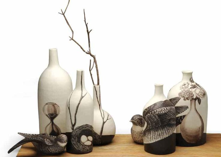 Myungjin Kim of Torrance, California was a 2011 Ceramics Monthly Emerging Artist. Still Life Vessels with Birds was created in 2008.