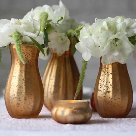 Dainty Frosted Gold Vase