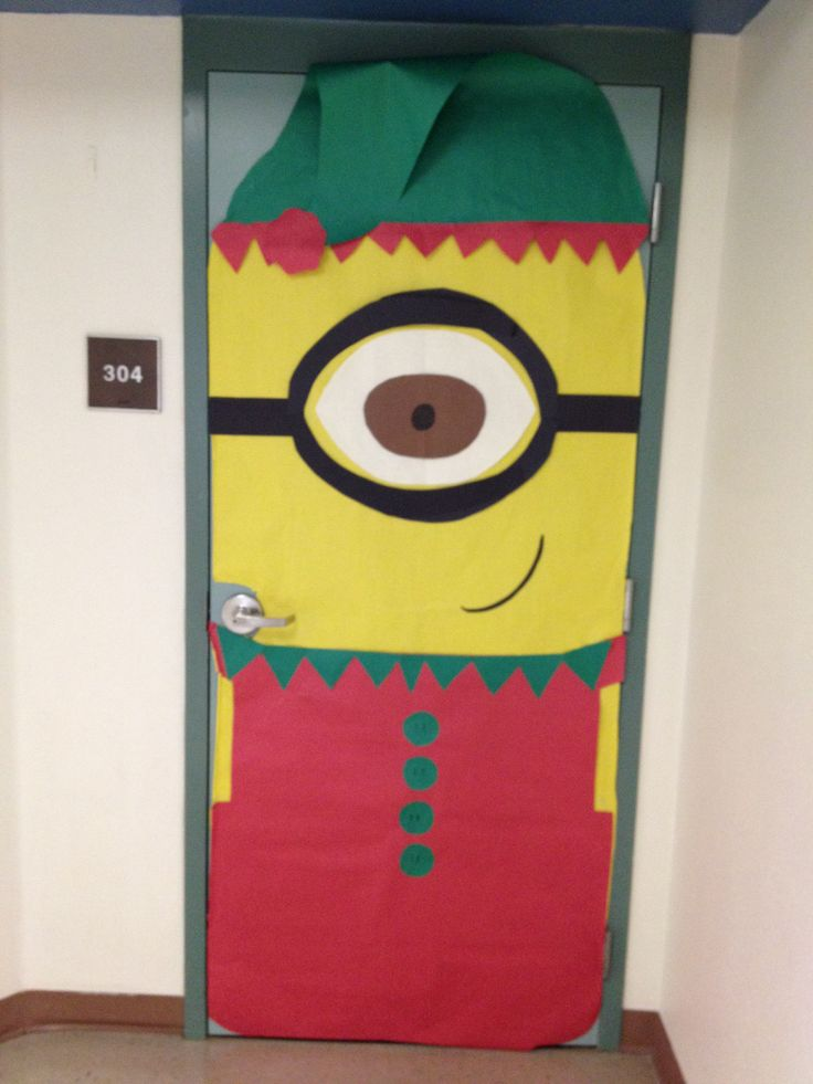 Minion elf classroom door i made this year math for Elf door decoration