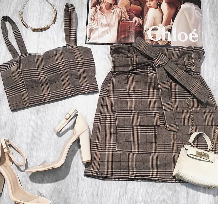 506a09120aa Brown Check Bralet Tie Front Skirt Co-Ord - Beatrice in 2019 ...