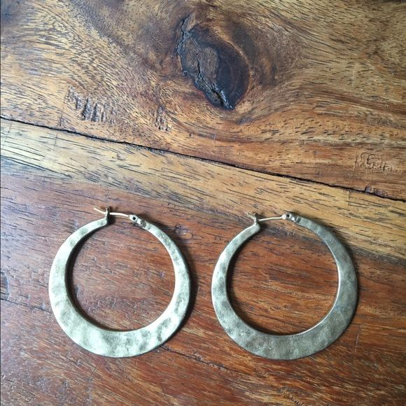 Lucky brand hoops Gold hammered lucky hoops. Worn once. Perfect condition Lucky Brand Jewelry Earrings