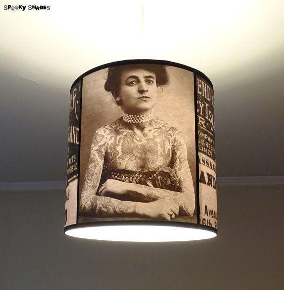 Vintage Tattoos pendant lamp shade lampshade - victorian light, tattoo decor, drum lamp shade, pendant light, tattoo art, rockabilly decor