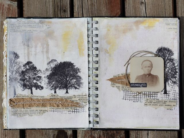 art journal. trees stamps, vintage photo