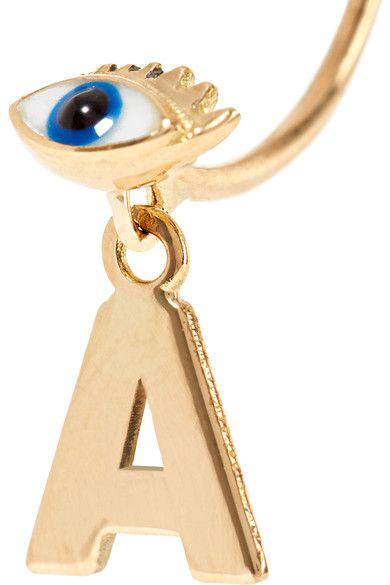 Delfina Delettrez - Abc 18-karat Gold, Pearl And Enamel Earring - K