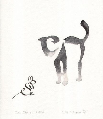cat and mouse calligraphy art by margaret shepherd