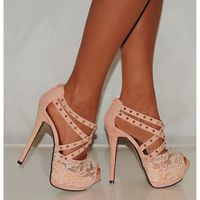 Cute Pink Studded High Heel Sandals with Lace Fronts