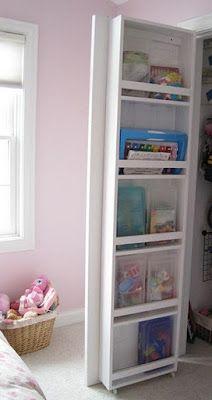 Inside closet door storage.