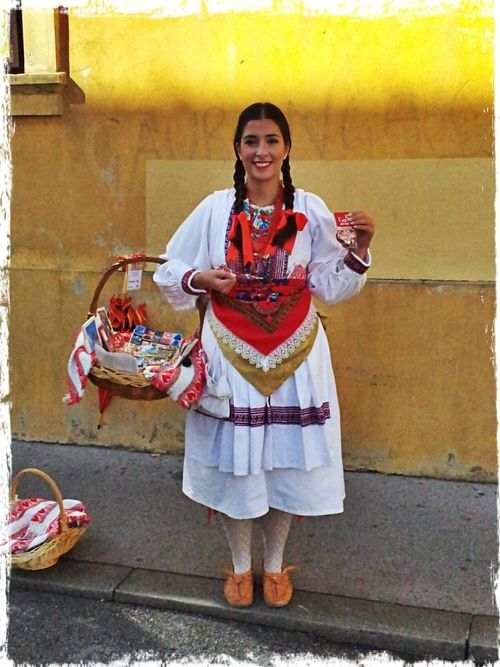 Beautiful girl in traditional dress from Zagreb, Croatia.