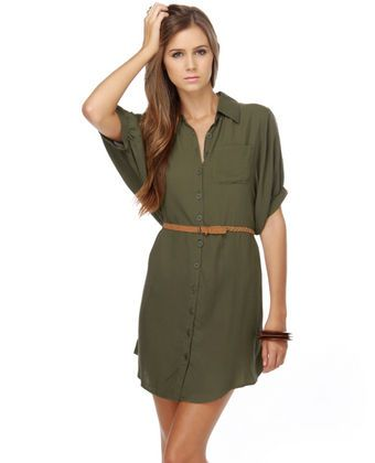 LuLu's Major Craze Army Green Shirt Dress