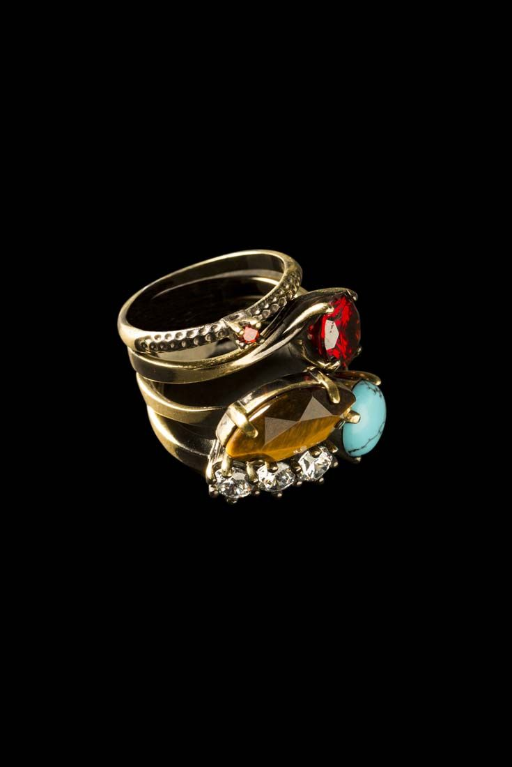 Set of 4 rings in handrbushed brass, tiger eye and turquoise paste Gypset Collection #IOSSELLIANI